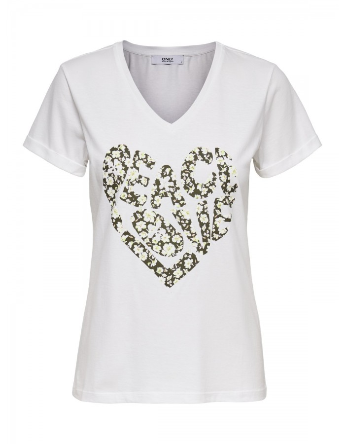 CAMISETA PEACE BLANCA  de ONLY