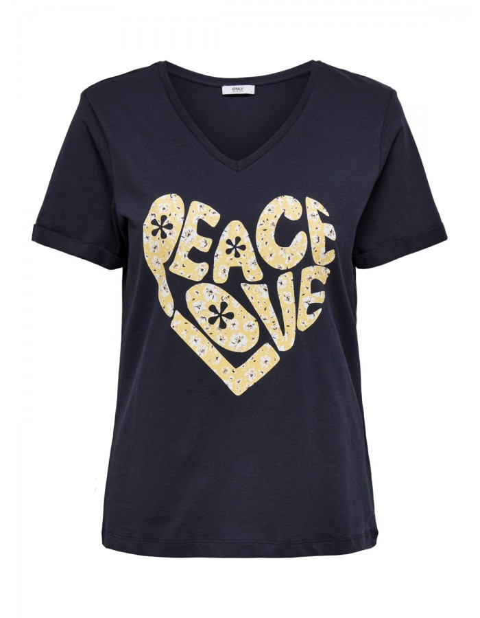 CAMISETA PEACE NEGRA  de ONLY
